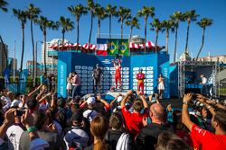 Podio: Secondo posto Jean-Eric Vergne, Andretti Autosport, il vincitore Nelson Piquet Jr., e il terzo Lucas di Grassi, Audi Sport ABT