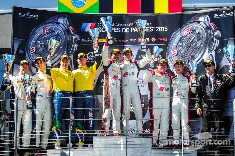 Podium: Los ganadores de la carrera, Stéphane Richelmi, Stéphane Ortelli, Belgian Audi Club Team WRT, segundo lugar Maxime Martin, Dirk Müller, BMW Sports Trophy Team Brasil, tercer lugar Enzo Ide, Christopher Mies, Belgian Audi Club Team WRT