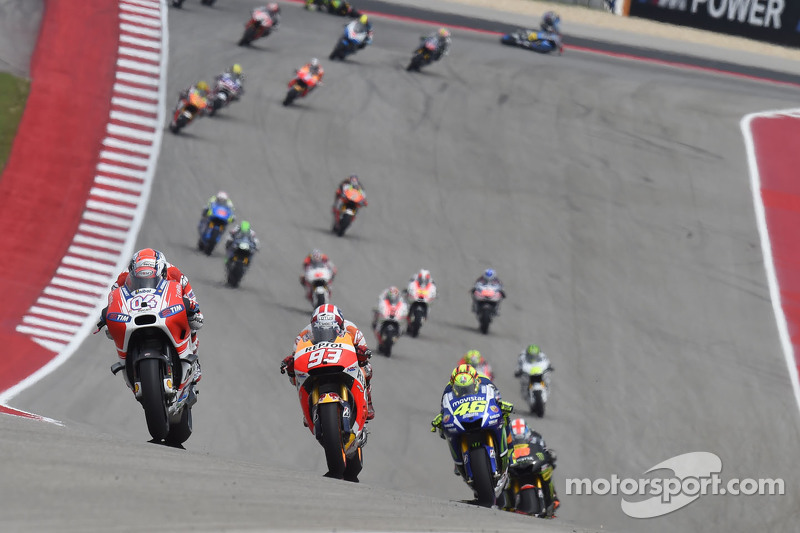 Andrea Dovizioso, Ducati Team dan Marc Marquez, Repsol Honda Team dan Valentino Rossi, Yamaha Factory Racing