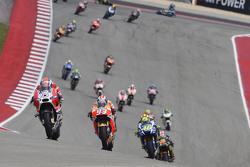 Andrea Dovizioso, Ducati Team; Marc Marquez, Repsol Honda Team, und Valentino Rossi, Yamaha Factory Racing