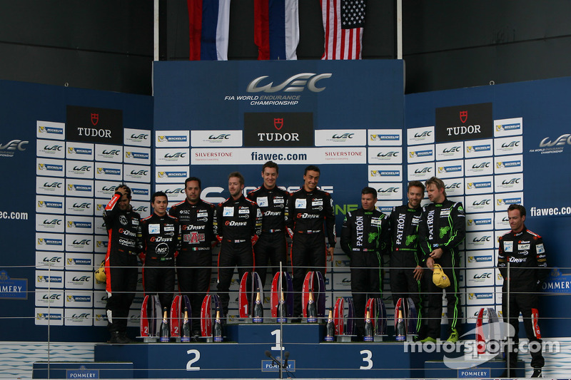 LMP2 podium: winners Roman Rusinov, Julien Canal, Sam Bird, second place Gustavo Yacaman, Pipo Deran