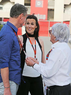 David Coulthard, Red Bull Racing and Scuderia Toro Advisor / BBC Television Commentator with Lee McKenzie, BBC Television Reporter and Bernie Ecclestone