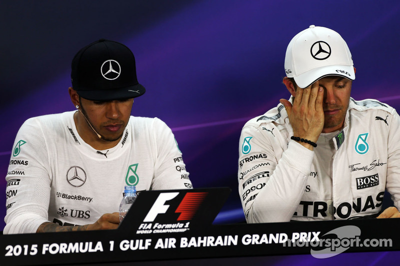 Lewis Hamilton, Mercedes AMG F1 and team mate Nico Rosberg, Mercedes AMG F1 in the FIA Press Conference