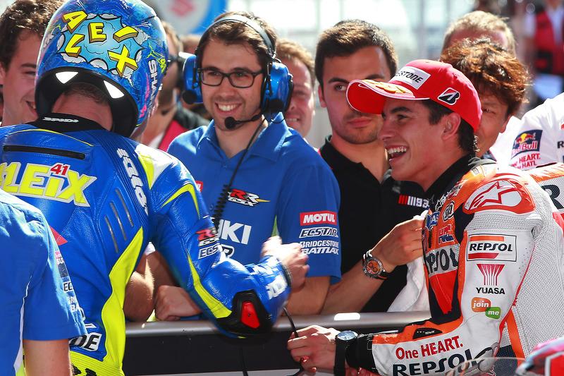 Polesitter Marc Marquez, Repsol Honda Team, second place Aleix Espargaro, Team Suzuki MotoGP