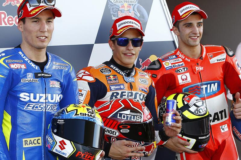 Pole-Sitter: Marc Marquez, Repsol Honda Team; 2. Aleix Espargaro, Team Suzuki MotoGP; 3. Andrea Iann