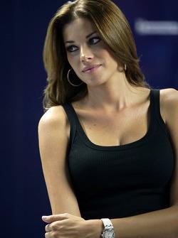 Charming actress Aida Yespica in the Scuderia Toro Rosso garage