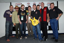 Barenaked Ladies present Kevin Harvick (with Ed Peper and Richard Childress) with guitar