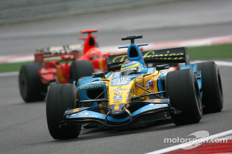 Giancarlo Fisichella devant Michael Schumacher