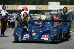 Pole winner Nicolas Minassian arrives on the starting grid