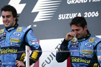 Podium: Giancarlo Fisichella is emotional after the death of a close friend last week