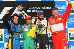 Podium: race winner Felipe Massa with 2006 World Champion Fernando Alonso, Jenson Button and Ross Brawn
