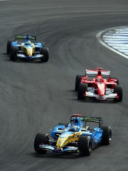 Fernando Alonso leads Michael Schumacher and Giancarlo Fisichella