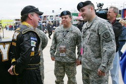 Joe Nemechek talks with members of the U.S. ARMY