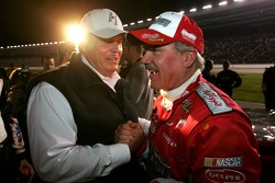 Car owner Rick Hendrick congrulates Terry Labonte after finishing his final race of his career