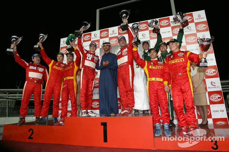GT2 podium: class winners Chris Niarchos and Tim Mullen, with second place Toni Vilander and Jaime Melo, and third place Mika Salo and Rui Aguas