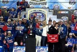 Championship victory lane: 2006 NASCAR Busch Series Champion Kevin Harvick celebrates