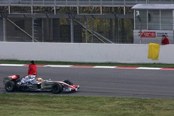 Lewis Hamilton stopped on the track