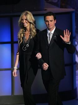 Jimmie and Chandra Johnson make their entrance at the 2006 NASCAR NEXTEL Cup Awards Ceremony