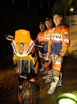 Team Repsol presentation in Barcelona: Marc Coma, Giovanni Sala and Jordi Viladoms