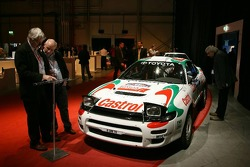 Toyota race cars on display before the launch