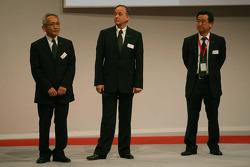 Tsutomu Tomita, Toyota Racing Chairman and Team Principal, John Howett, Toyota Racing, President TMG, Yoshiaki Kinoshita, Executive Vice President, Toyota Motorsport