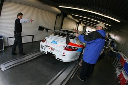 GT pole winner #81 Synergy Racing Porsche GT3 Cup at post-qualifying technical inspection
