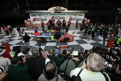 Victory lane: race winner Jeff Gordon arrives