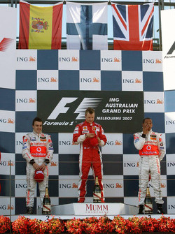Podium: winner Kimi Raikkonen, second place Fernando Alonso, third place, Lewis Hamilton