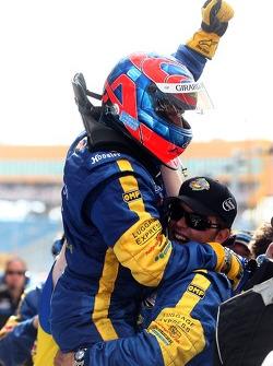 Race winners Bill Auberlen and Matthew Alhadeff celebrate