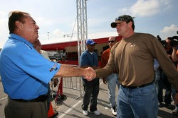 Baseball legend and Grand Marshall for the Grand Prix of Houston Roger Clemens arrives at the go-kart event