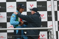 Podium: Enrico Toccacelo, Driver of A1Team Italy and John Surtees, Team Manager of A1Team Great Britain