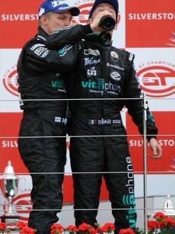 GT1 podium: class and overall winners Mika Salo and Thomas Biagi