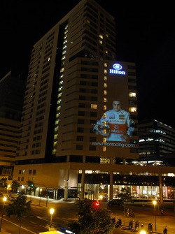 Fernando Alonso, McLaren Mercedes, image is projected onto the facade of the Hilton Diagonal Mar