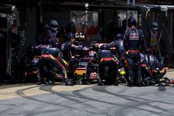 Max Verstappen, Scuderia Toro Rosso, tijdens pitstop
