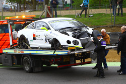 #84 Bentley Team HTP Bentley Continental GT3: Mike Parisy, Harold Primat, Vincent Abril after a huge crash
