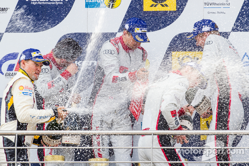 Podium: Christopher Mies, Edward Sandström, Nico Müller, Laurens Vanthoor celebrate with champagne