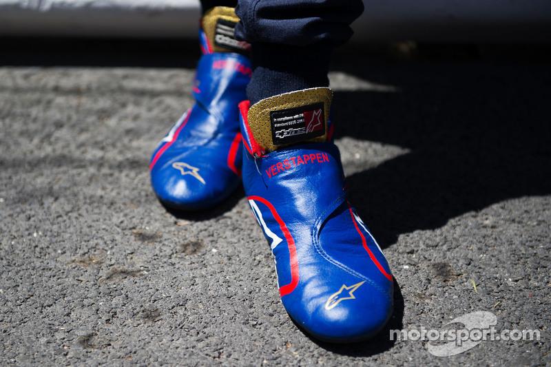 Alpinestars racing boots of Max Verstappen, Scuderia Toro Rosso