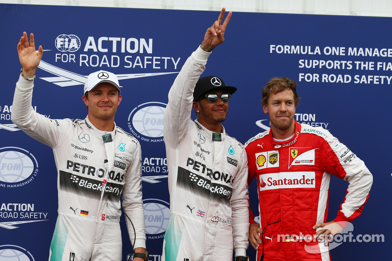 Pole for Lewis Hamilton, Mercedes AMG F1, 2nd for Nico Rosberg, Mercedes AMG F1 W06 and 3rd for Sebastian Vettel, Ferrari