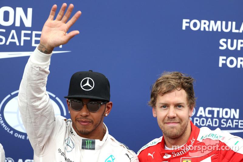 Lewis Hamilton, Mercedes AMG F1 Team e Sebastian Vettel, Scuderia Ferrari