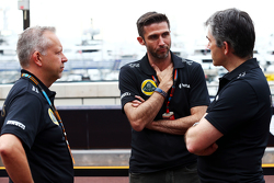 (L to R): Mark Slade, Lotus F1 Team Race Engineer with Matthew Carter, Lotus F1 Team CEO and Nick Chester, Lotus F1 Team Technical Director