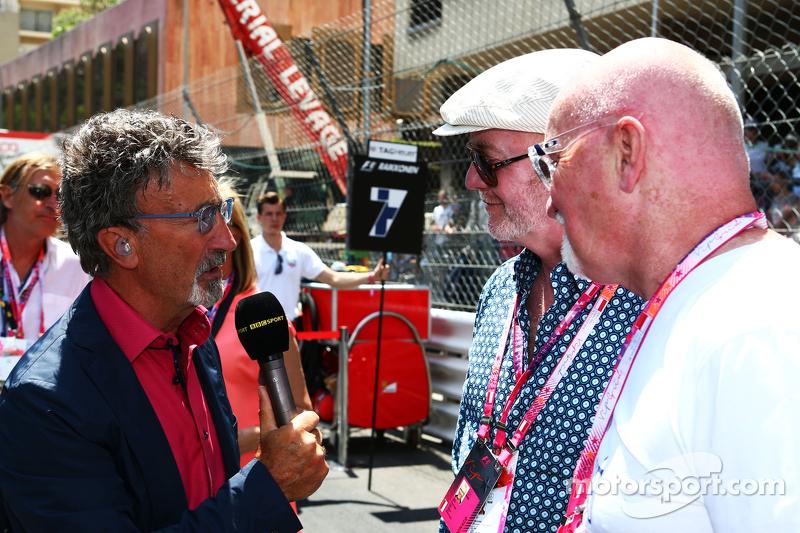 (L to R): Eddie Jordan, BBC Television Pundit with Chris Evans, Broadcaster and Sir Tom Hunter, Busi