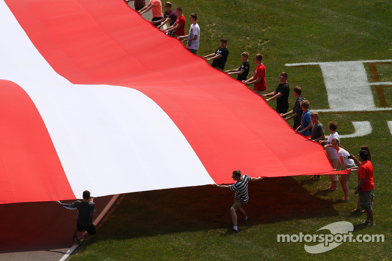 Giant American flag during pre-race