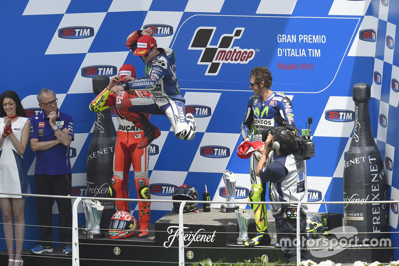 Podium: second place Andrea Iannone, Ducati Team and winner Jorge Lorenzo and third place Valentino