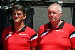 Graeme Lowdon, Manor F1 Team Chief Executive Officer, met John Booth, Manor F1 Team-teambaas