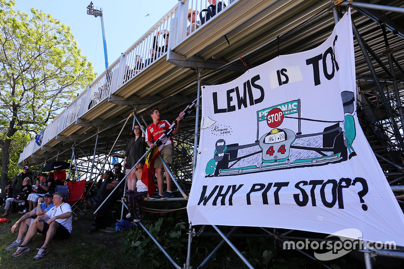 A banner for Lewis Hamilton, Mercedes AMG F1