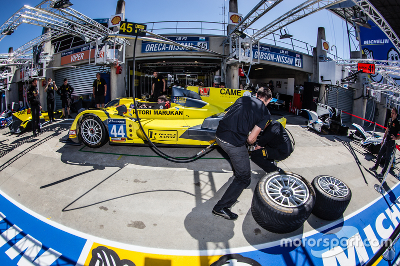 Pit stop practice for #45 Ibanez Racing ORECA 03R