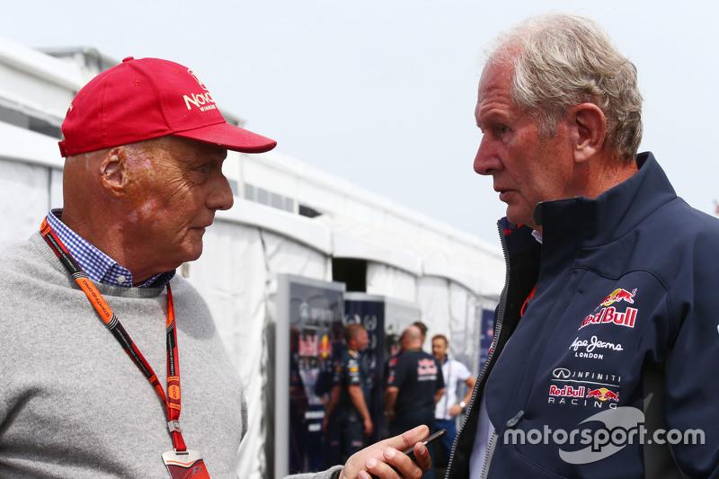 Niki Lauda, Aufsichtsratsvorsitzender Mercedes AMG F1, mit Dr. Helmut Marko, Berater Red Bull Motorsport
