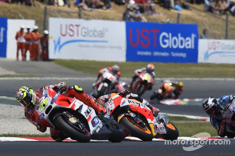 Andrea Iannone, Ducati Team; Dani Pedrosa, Repsol Honda Team, und Scott Redding, Marc VDS Racing Honda
