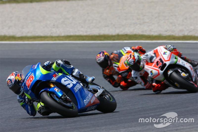 Maverick Viñales, Team Suzuki MotoGP; Danilo Petrucci, Pramac Racing, Ducati, und Stefan Bradl, Forw