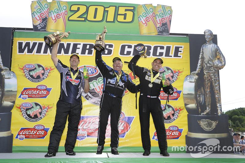 Pro Stock winner Greg Anderson, Funny Car winner John Force, Top Fuel winner Tony Schumacher